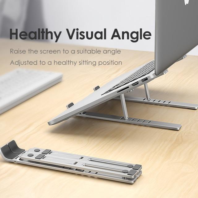 LINGCHENแล็ปท็อปสำหรับMacBook Proโน้ตบุ๊คขาตั้งพับได้อลูมิเนียมอัลลอยด์แท็บเล็ตขาตั้งแล็ปท็อปสำหรับโน๊ตบุ๊ค
