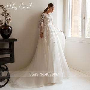 Image 4 - Ashley Carol Chữ A Áo Cưới 2020 Tay Dài Đi Biển Muỗng Lãng Mạn Đính Hạt Appliques Công Chúa Cô Dâu Đồ Bầu Đầm Vestido De Noiva
