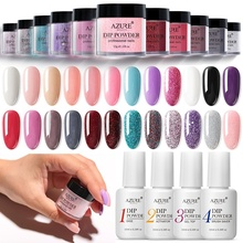 Azure Beauty Gradient Color Dipping Powder Nail Art Glitter Dip Decorations 23 Colors Base Top Activator Gel