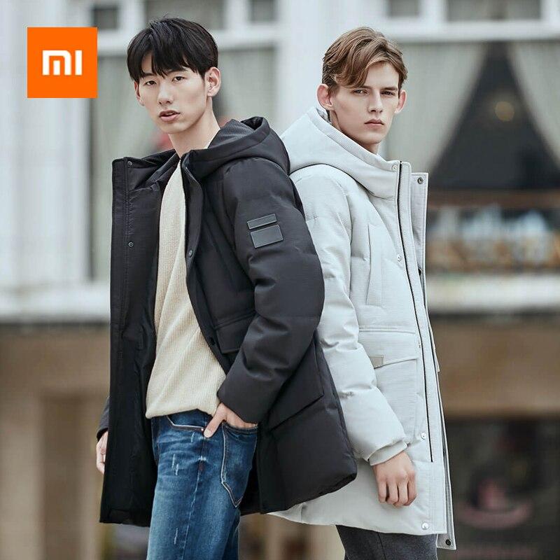 Новый Xiaomi Mijia Youpin 90 очков мужская замшевая текстура с капюшоном средней и длинной секции пуховик уровень 4 водоотталкивающий