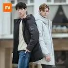 Новый Xiaomi Mijia Youpin 90 очков мужская замшевая текстура с капюшоном средней и длинной секции пуховик уровень 4 водоотталкивающий - 1