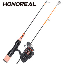 HONOREAL fishing pole 52.5cm Carbon ice Telescopic fishing rod Combo kit Fishing Rod with 8+1BB Reel size1000 Fishing Tackle Set цена 2017
