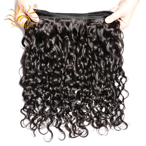Image 5 - Water Wave Bundles With Closure Brazilian Hair Weave Bundle Sunlight Non Remy Lace Closure Human Hair 4 / 3 Bundles With Closure