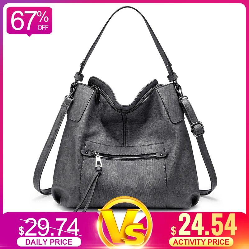 REALER Women Shoulder Bag Large Hobos Totes Bag Crossbody Messenger Bags For Women 2019 Luxury Handbag PU Leather Gray Hand Bag