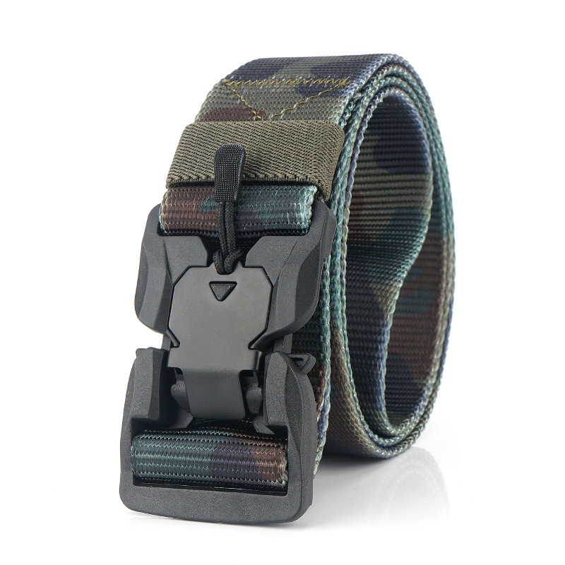 New 3.8cm Camouflage Tactical Belt Men Women Alloy Magnetic Buckle Quick Unlock Nylon Special Service Belt Casual Knitted Belt