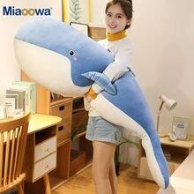 Baleine géante en peluche, grande et douce, pour enfant, oreiller en animal de mer mignon, pour dormir, poupée requin bleu, poisson, cadeau d'anniversaire, 120 cm,