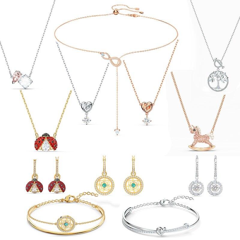 2020 SWA New SYMBOLIC MANDALA. SYMBOLIC TREE OF LIFE .SPARKLING DANCE LADYBUG .INFINITY Y-shaped Crystal Necklace Women Jewelry