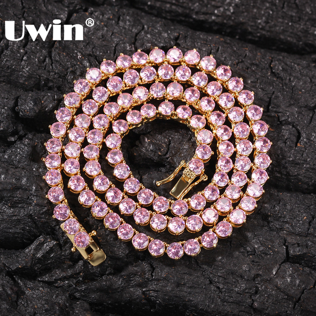 UWIN New Style 4mm Pink CZ Tennis Chain With Women Fashion Gift Necklaces Hiphop Bling Bling Cubic Zirconia Hiphop Jewelry