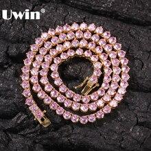 UWIN nowy styl 4mm różowy CZ łańcuch tenisowy z kobiet moda prezent naszyjniki Hiphop Bling Bling cyrkonia Hiphop biżuteria