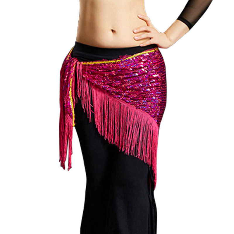 Hip-Scarf Mesh Dancing-Belts Belly-Dance-Costumes Sequins Women Tassel for New-Style