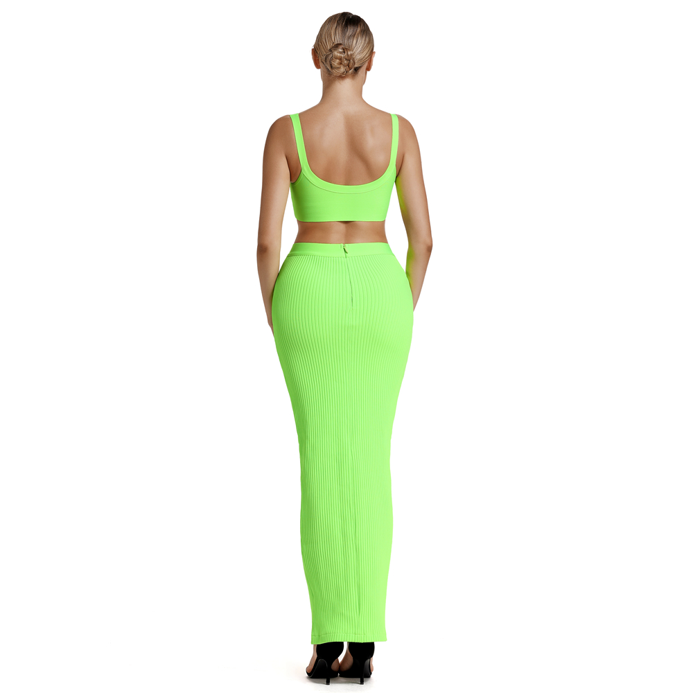 Ocstrade Summer Bandage 2 Piece Set 2019 New Arrival Women Neon Green Green Bandage Dress Bodycon Two Piece Bandage Dress Party in Dresses from Women 39 s Clothing