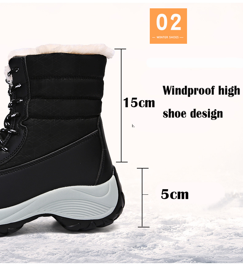 2019 Women Snow boots Waterproof Non-slip Parent-Child Winter Boots Thick Fur Platform Waterproof and Warm Shoes Plus Size 31-42 51