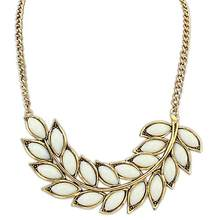 Lady Girl Bib Statement Collar Chain Resin Leaves Branch Pendant Necklace Gift(China)