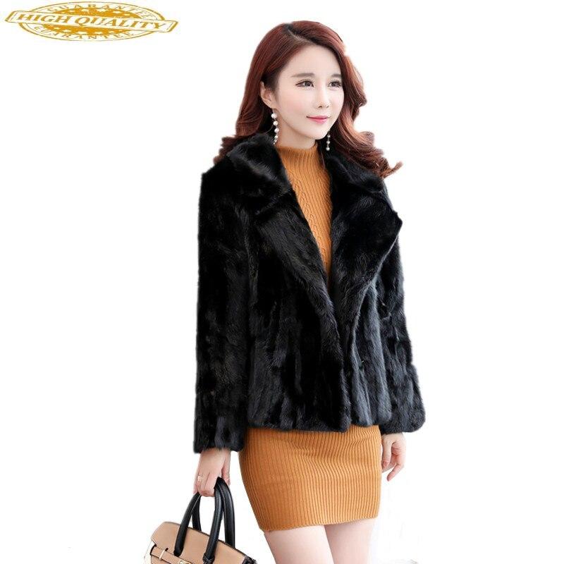 Natural Mink Coats Women Real Fur Coat Female Black Turn-down Collar Slim Women's Winter Jacket Abrigo Mujer WYQ1575
