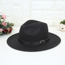 Women's Crushable Wool Fedoras Felt Outback Hat Panama Hat Wide Brim with Belt h