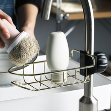 Faucet Sponge Holder Drainer Caddy for Dishwashing Stainless Steel Storage Rack Hanging Shelf Soap Towel Organizer