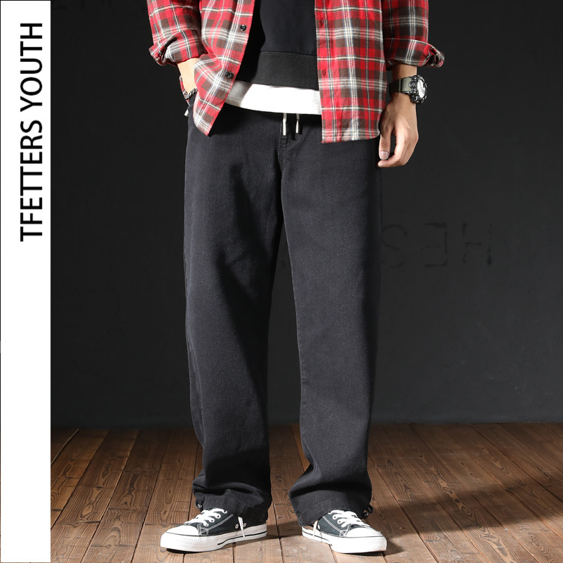 TFETTERS Thickked Jeans Men Spring Autumn Pants Japanese Large Size Loose Straight Elastic Waist Male Trousers Couple Jeans