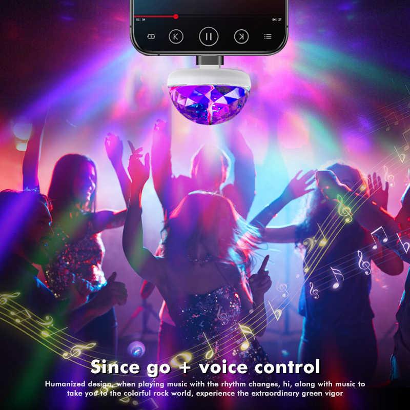 מיני USB LED דיסקו שלב אור נייד משפחת מסיבת קסם כדור צבעוני אור בר מועדון שלב אפקט מנורת עבור נייד טלפון