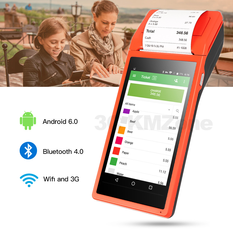 POS Terminal Android PDA phone with Wifi 3G Thermal Bluetooth Printer 58mm 1D 2D QR Camera Barcode Reader Free App Loyverse POS image