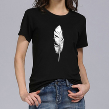 Hillbilly Summer Black White Feather T-shirt Women Harajuku Graphi Printed Tee Femme Fashion Casual O-Neck Dames Kleding Zomer