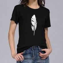 Hillbilly – T-shirt à plumes noires et blanches pour femmes, estival et à la mode, avec graphique imprimé, Harajuku, col rond, pour Dames