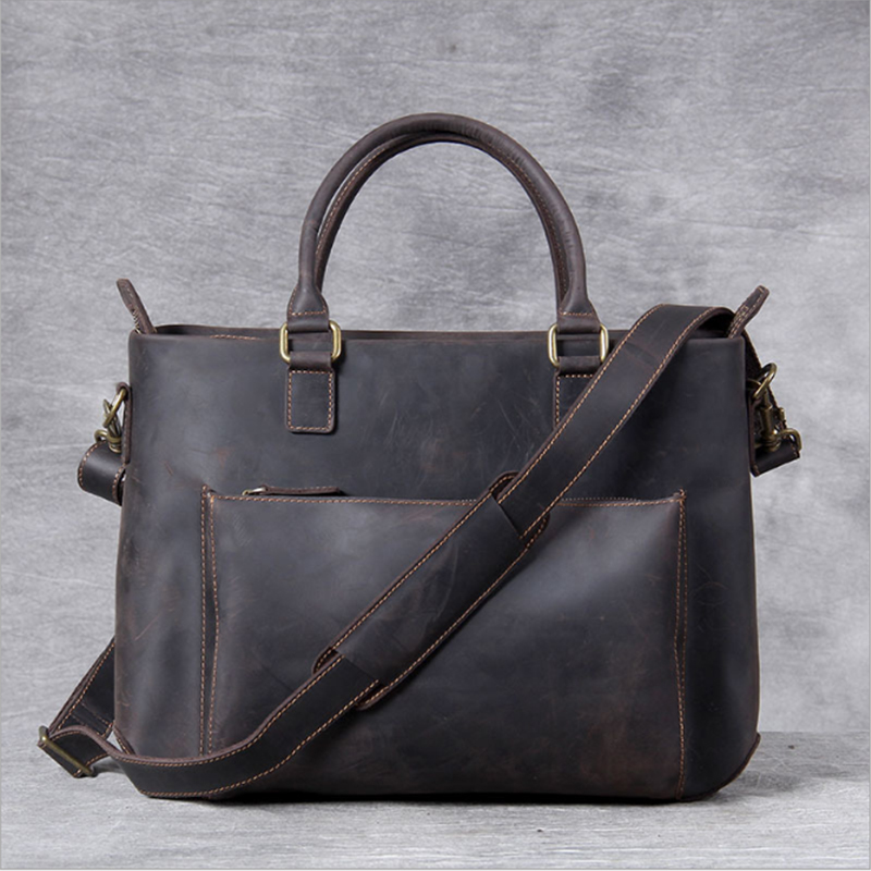 MAHEU Men Real Genuine Leather Briefcases 15 Inch Laptop Casual Handbag Large Capacity Cowhide Shoulder Bag Vintage Men Bags