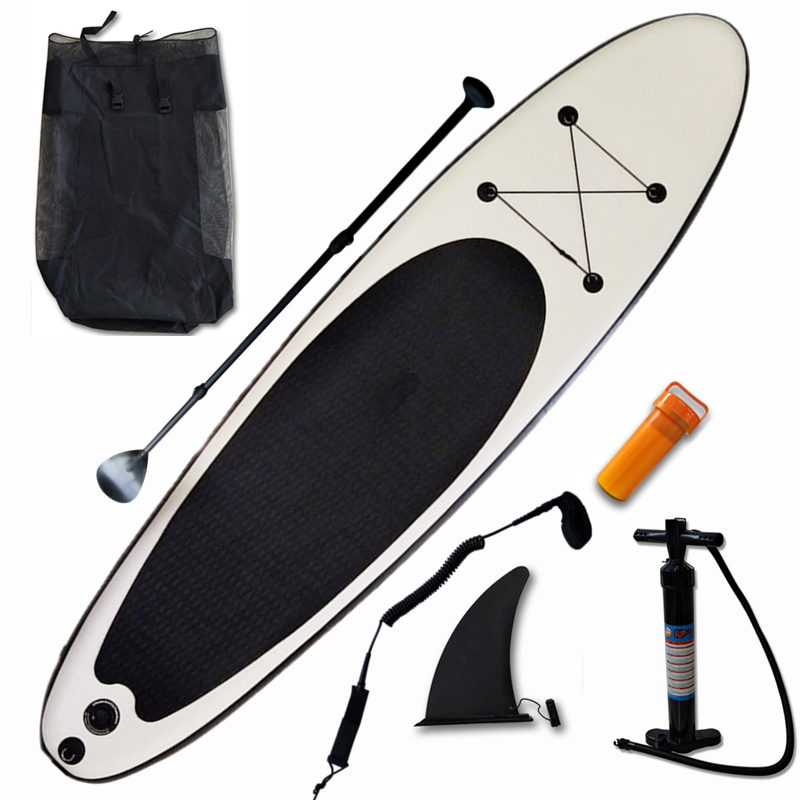 Inflatable Stand Up Paddle Board Sup-Board Surfboard Kayak Surf set 300*75*15 ''with Backpack,leash,fins,panddle image