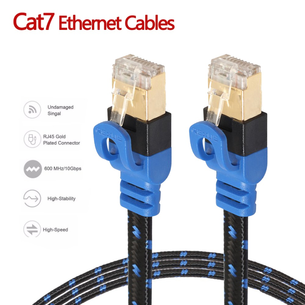 NAS Cat7 Ethernet Cable Internet Network LAN Flat Cable Cord With Fiber Mesh Double Shield For Notebook Desktop PC Router