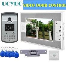 """Видео домофон система контроля доступа двери камеры водонепроницаемый 1000TVL RFID Электрический дверной замок """" видео-телефон двери"""