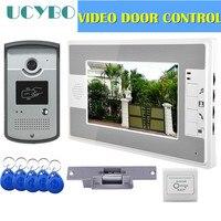 video intercom access control system door camera waterproof 1000TVL RFID electric door lock 7 video door phone entry system