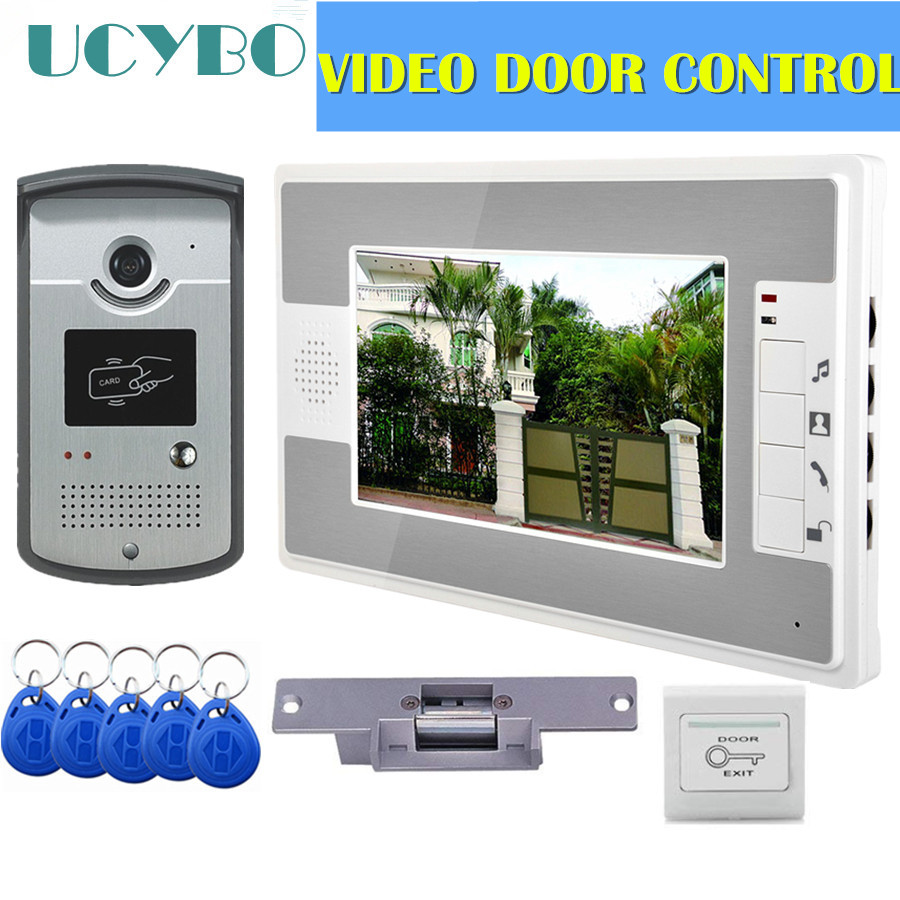 "Video Intercom Access Control System Door Camera Waterproof 1000TVL RFID Electric Door Lock 7"" Video Door Phone Entry System"