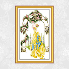 Wanita Cantik Bau Mawar Di Gerbang Halaman Cetak Kanvas Cross Stitch 11CT 14CT Cross Stitch Kit Bordir DIY Menjahit(China)