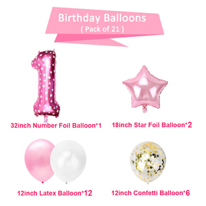 Image 3 - Pink Foil Number Balloon Confetti Latex Air Balloons 1st Happy Birthday Party Decorations First Baby Baby Girl Boy My 1 One Year