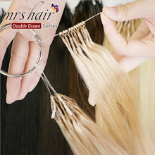MRSHAIR Straight Double Drawn Human Hair 8D Micro Beads Links 100% Natural Hair Extensions Machine Remy 50cm #27 #60 50grams