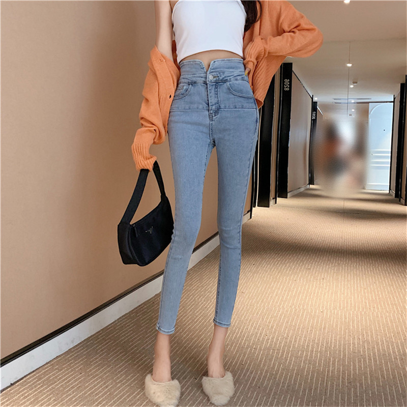 Real Shot Fashion High Waist Nine Points Jeans 2019 New Women's Slimming High Self-cultivation Tight-fitting Pants