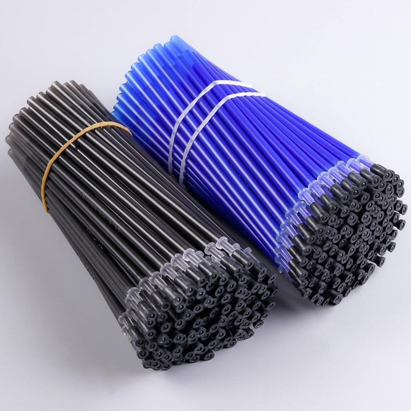 100Pcs/lot Erasable Pen Refill Office Gel Pen Rod Erasable Pen Refill 0.5mm Blue Black Ink School Stationery Writing Tool Gift