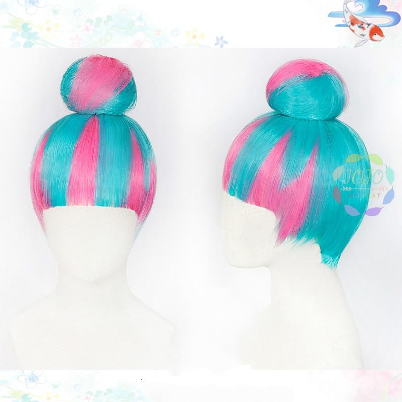 LOL Qiyana True Damage rosa azul Color mezclado con moño Cosplay pelo sintético resistente al calor carnaval Halloween + gorro de peluca gratis