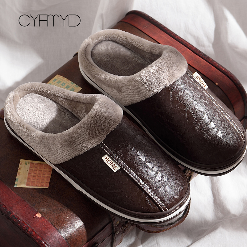 2019 Men Leather Slippers Winter Memory Foam Size 40-49 Indoor Slipper Male Non-Slip Short Plush Warm House Slippers For Man