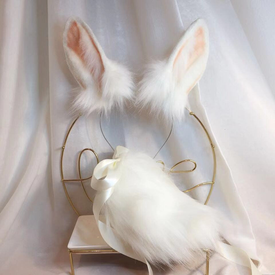 Nova simulação de animação de coelho jade besta orelha besta cauda lobo orelha gato orelha raposa cabelo hoop personalizado cosplay