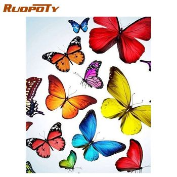 RUOPOTY  Animals Oil Painting By Numbers butterfly For Adults Paints By Number Canvas Painting Kits 50x40cm DIY Gift Home Decor