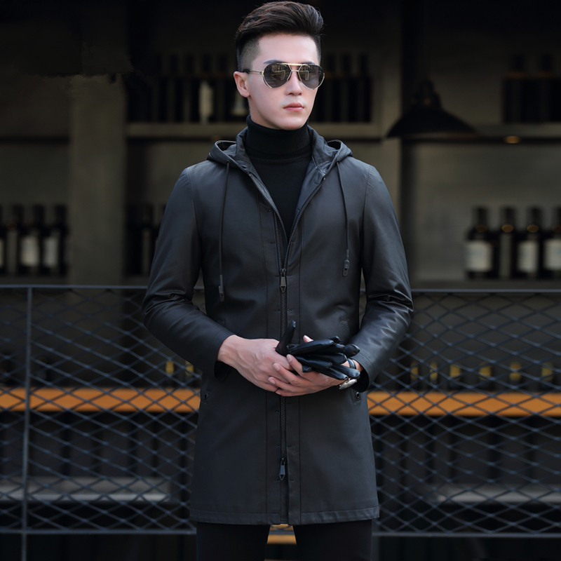 Genuine Leather Jacket Men Clothes Men Sheepskin Coats Hooded Real Leather Jacket Veste En Cuir Homme P-D8318C ZL929