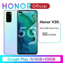Honor V30 Google Play Kirin990 7nm Octa core 5G Smartphone 6GB 8GB 128GB 16Core GPU 40mp Triple Cam