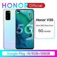 Honor V30 Google Play Kirin990 7nm octa Core 5G Smartphone 6GB 8GB 128GB 16 rdzeń GPU 40mp potrójna kamera 40W SuperCharge telefon komórkowy