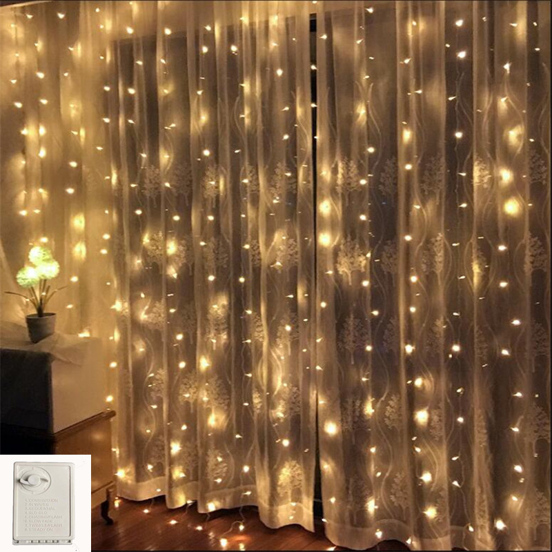 Outdoor Memory Control 3*2M 180LED String Light Fairy Christmas Light Wedding Xmas Garland Garden Party Curtain Decor Waterproof