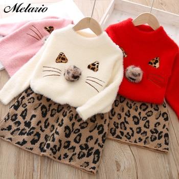 Autumn Winter Children's Leopard Sweater Skirt Two Piece Suit Woollen Clothing Set Long Sleeve Kids Girls Clothes Knit Top Coat 1