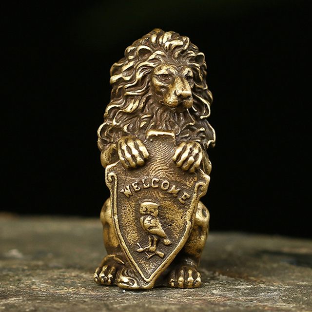 Antique Bronze Welcome Shiled Lion King Statue Home Feng Shui Decorations Lucky Copper Owl Miniature Figurines Table Ornaments 1