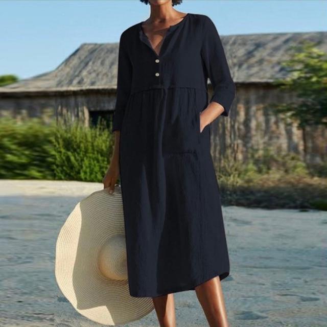Linen Summer Dress Women Three Quarter Casual Pocket Woman Dress Solid A-Line Ruffles Dresses for Women 2021 robe femme 4