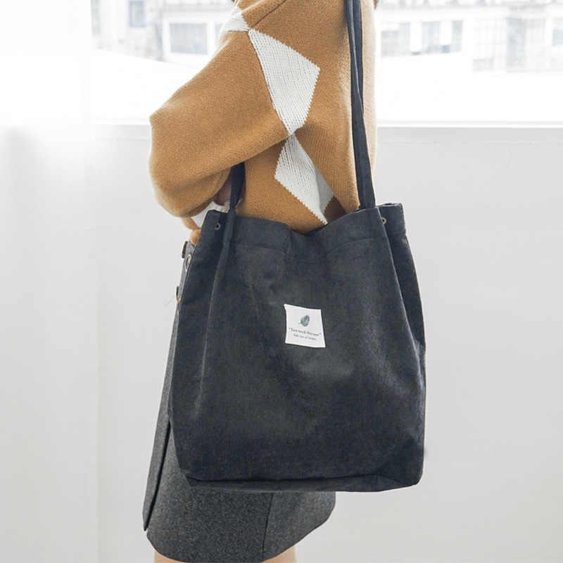 De alta capacidad de las mujeres de pana bolso Casual bolso de hombro plegable reutilizables de compras bolsa de playa sólido de pana de bolsos de hombro