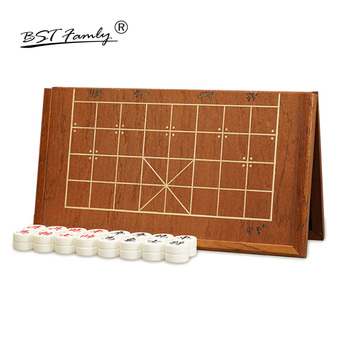Chinese Chess Xiang Qi Wooden box Acrylic Pieces Folding board 34.7*37.2cm 32Pcs/Set Puzzle Game Kids Gift BSTFAMLY C02