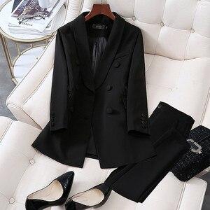 Mode Pak Pak Vrouwelijke Voorjaar Nieuwe Verhogen Size Casual Pak + Broek Twee Set Zwart Zakelijke Kleding Vrouwen Werk kleding